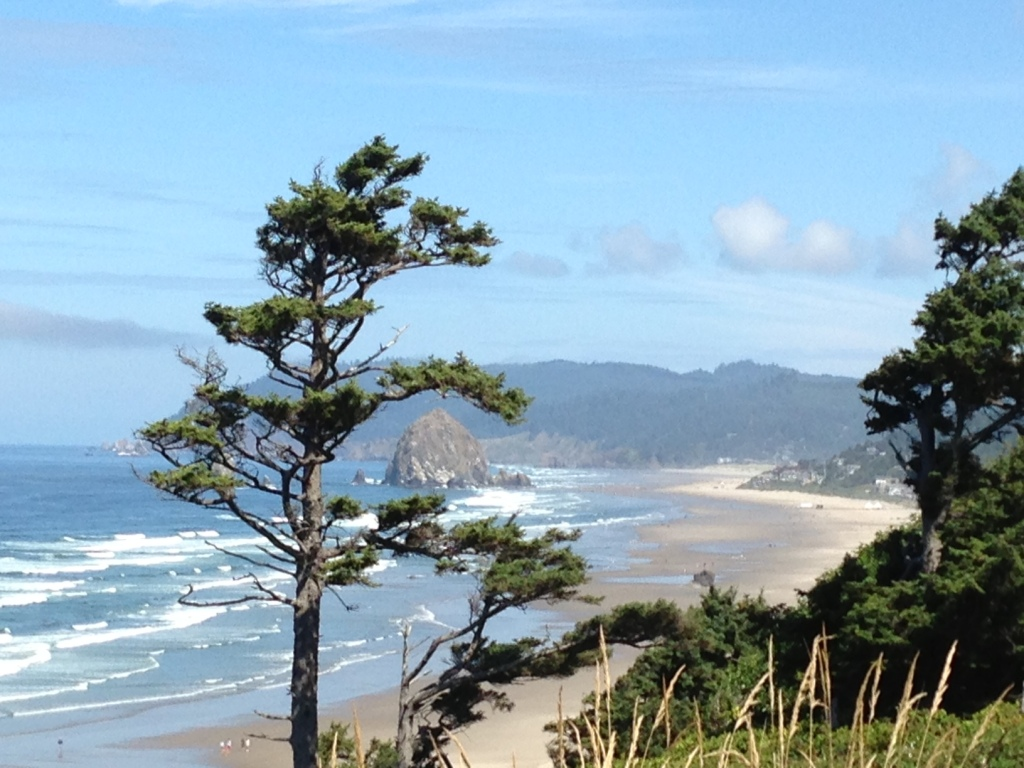 Cannon Beach and Haystack from Highway 101 overlook.