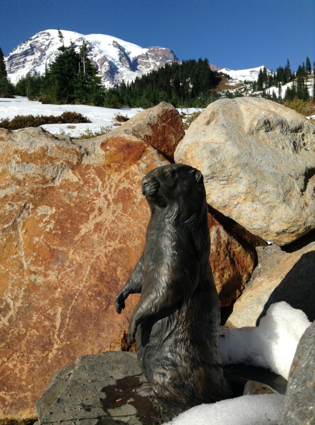 Jim took this picture of a marmot statue at Mount Rainier today, Oct. 18, the park's second full day of operation after the shutdown.