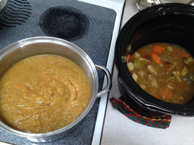 See the magic happen! Vegetables still in crock on right, the blended version at left.
