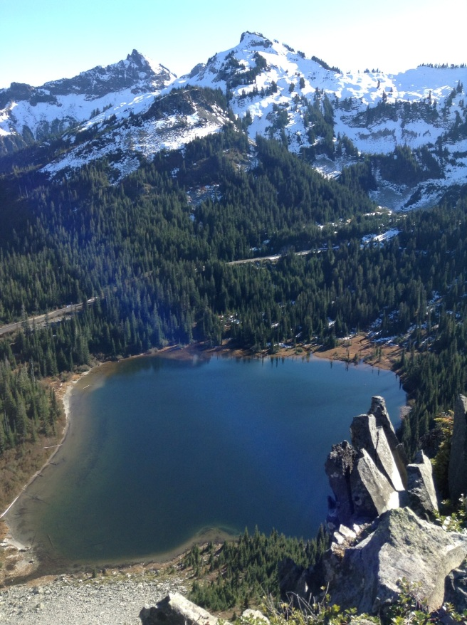 Looking down at another alpine lake.