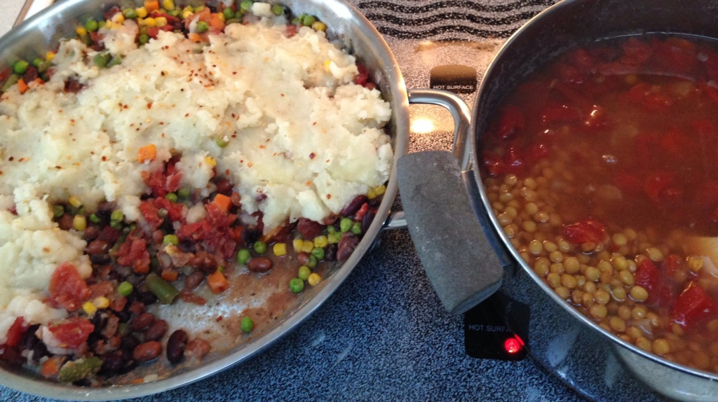 Shepherd's Pie and Lentil Soup doing double-duty on the burners.