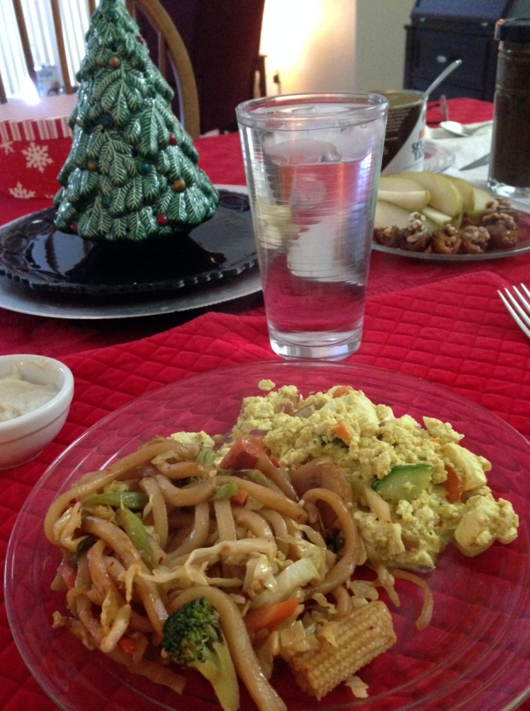 Christmas breakfast of leftover vegan Yaki Udon and tofu scramble.