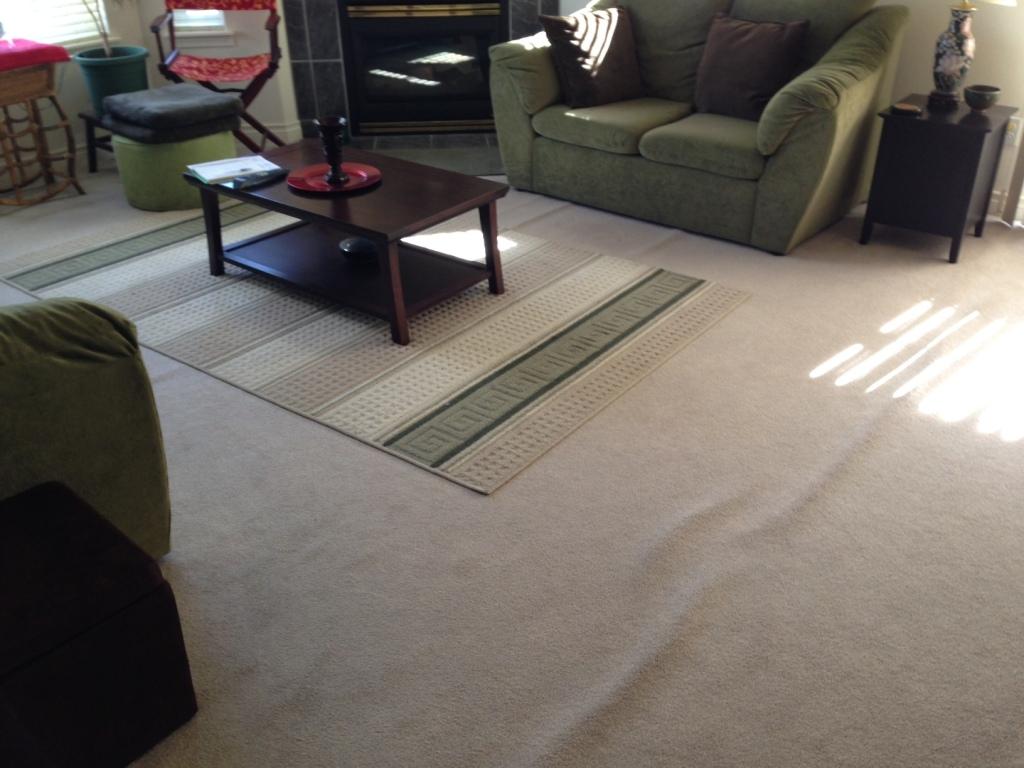 Old carpet, old arrangement in living room.
