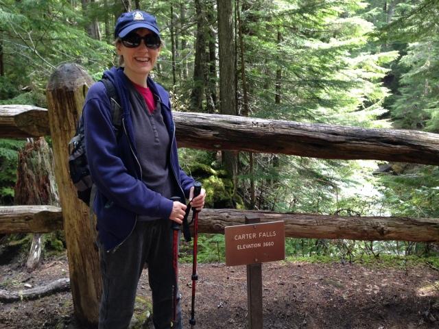 Reaching Carter Falls, Mount Rainier, May, 2014.